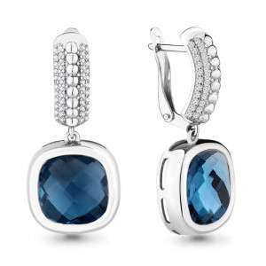 925 Sterling Silver pair earrings with cubic zirconia and nano london topaz