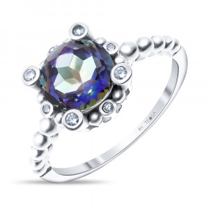 925 Sterling Silver women's rings with quartz and mystic quartz