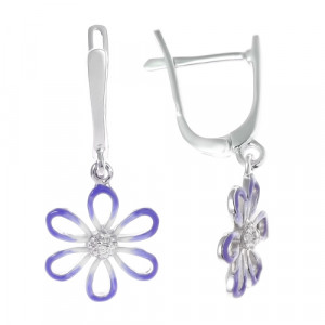 925 Sterling Silver pair earrings with enamel and cubic zirconia