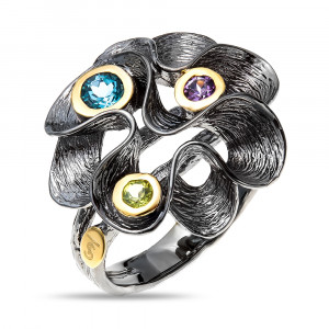 925 Sterling Silver women's rings with swiss topaz and amethyst