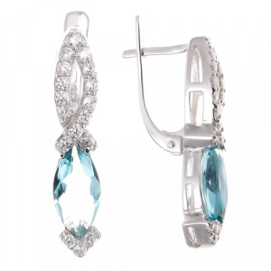925 Sterling Silver pair earrings with sea blue aquamarine and cubic zirconia