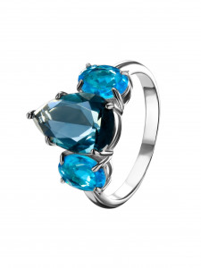 925 Sterling Silver women's rings with  and london topaz
