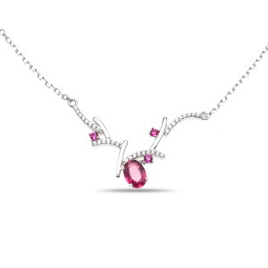 925 Sterling Silver necklaces with rubin