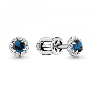 925 Sterling Silver pair earrings with topaz london gt and cubic zirconia