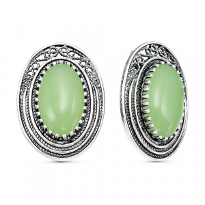 925 Sterling Silver pair earrings with synthetic jade and jade