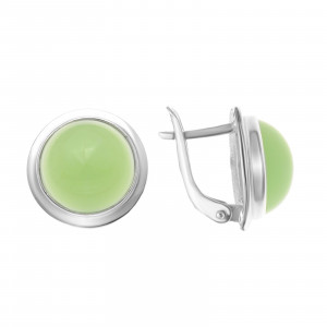 925 Sterling Silver pair earrings with synthetic jade and