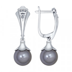 925 Sterling Silver pair earrings with pearl imit. and swarovski