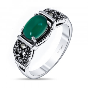 925 Sterling Silver women's rings with marcasite and synthetic green agate