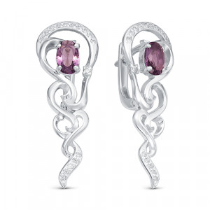925 Sterling Silver pair earrings with jewelry glass and glass