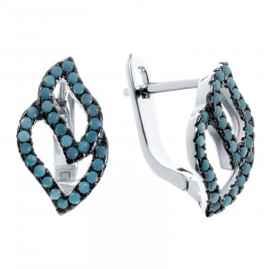 925 Sterling Silver pair earrings with nano turquoise