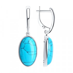 925 Sterling Silver pair earrings with synthetic turquoise