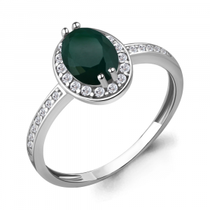 925 Sterling Silver women's rings with cubic zirconia and green agate