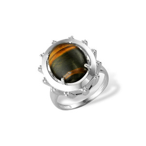 925 Sterling Silver women's rings with tiger eye