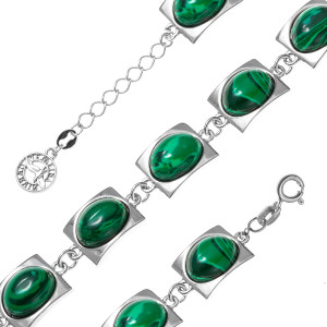 925 Sterling Silver bracelets with synthetic malachite and malachite