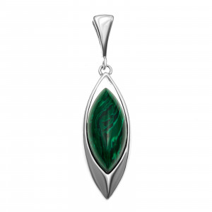 925 Sterling Silver pendants with synthetic malachite