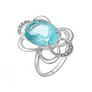 925 Sterling Silver women's rings with quartz pl. topaz and topaz