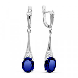 925 Sterling Silver pair earrings with  and multicolor cubic zirconia