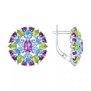 925 Sterling Silver pair earrings with amethyst and chrysolite