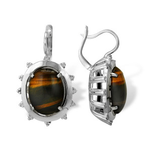 925 Sterling Silver pair earrings with tiger eye