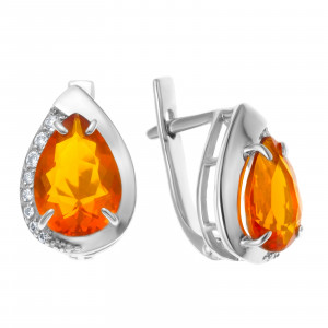 925 Sterling Silver pair earrings with crystal and cubic zirconia