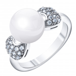 925 Sterling Silver women's ring with pearl cult. and cubic zirconia