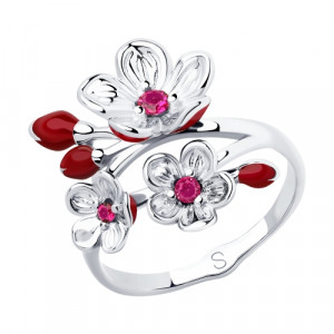 925 Sterling Silver women's rings with enamel and synthetic corundum