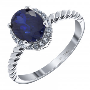 925 Sterling Silver women's rings with white topaz and