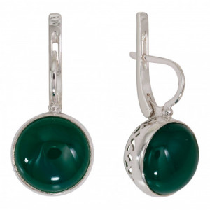 925 Sterling Silver pair earrings with jade