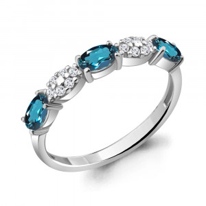 925 Sterling Silver women's rings with london topaz and cubic zirconia