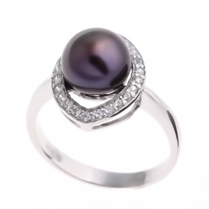 925 Sterling Silver women's ring with cubic zirconia and black cultivated pearls