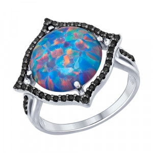 925 Sterling Silver women's ring with synthetic opal and cubic zirconia