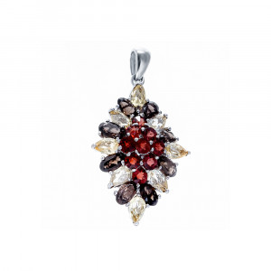 925 Sterling Silver pendants with garnet and rauchtopaz