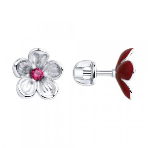 925 Sterling Silver pair earrings with corundum and enamel