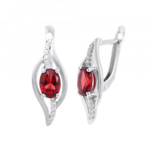 925 Sterling Silver pair earrings with nano topaz and cubic zirconia