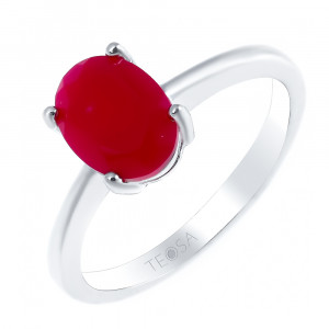 925 Sterling Silver women's ring with red agate