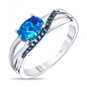 925 Sterling Silver women's rings with  and multicolor cubic zirconia