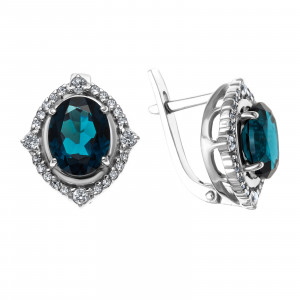 925 Sterling Silver pair earrings with  and london topaz