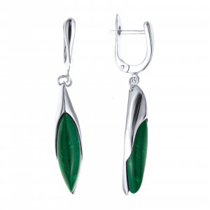 925 Sterling Silver pair earrings with malachite and synthetic malachite