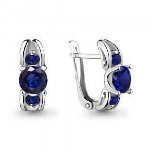 925 Sterling Silver pair earrings with sapphire gt and nano sapphire