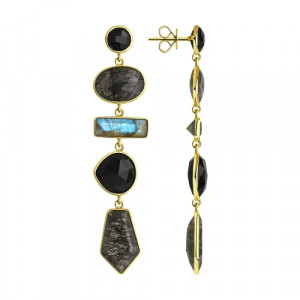 925 Sterling Silver pair earrings with onyx and