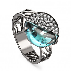 women's rings with cubic zirconia and sitall