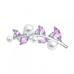 925 Sterling Silver brooches with cubic zirconia swarovski and pearl imit.