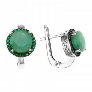 925 Sterling Silver pair earrings with  and nano emerald