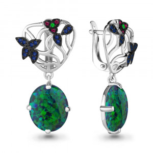 925 Sterling Silver pair earrings with opal and nano emerald