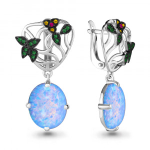 925 Sterling Silver pair earrings with synthetic blue opal and nano crystal