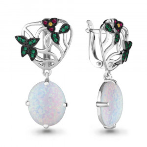 925 Sterling Silver pair earrings with white opal and synthetic white opal