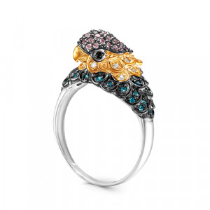 925 Sterling Silver women's rings with multicolor cubic zirconia