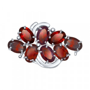 925 Sterling Silver brooches with garnet and rhinestone