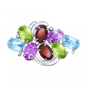 925 Sterling Silver brooches with topaz and garnet