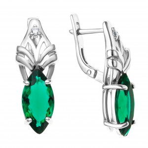 925 Sterling Silver pair earrings with synthetic quartz and cubic zirconia